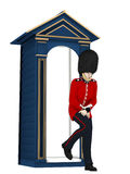 British Guard - Gotta Go. A British Guard standing outside his guard shack in a pose showing that he needs to relieve himself.  Humor Stock Image