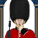 British Guard - Nose. A surprised British Guard standing in front of his guard house caught with his finger in his nose.  Humor Royalty Free Stock Images