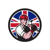 British Handyman Union Jack Flag Icon. Icon retro style illustration of a British handyman, builder, carpenter or construction worker holding hammer with United Stock Images