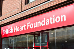 British Heart Foundation. A british heart foundation charity shop. The British Heart Foundation (or BHF) is a charity organisation in Britain that funds research Royalty Free Stock Image