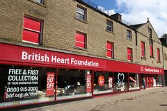 British Heart Foundation. HUDDERSFIELD, UK - JULY 10, 2016: British Heart Foundation charity shop in Huddersfield, West Yorkshire, UK. The charity has some 700 Royalty Free Stock Photo