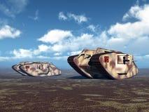 British Heavy Tanks of World War I. Computer generated 3D illustration with British Heavy Tanks of World War I Royalty Free Stock Photography