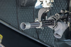 British Helicopter gun. A photo of Minigun mounted on a Helicopter. Commly used by the British Royal Navy. Made possible by yeovilton airshow Royalty Free Stock Photo