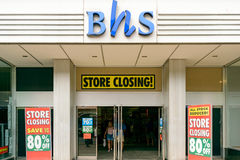 British Home Stores closing down. EXETER, UK - 17 AUGUST 2016:  An exterior view of the BHS (British Home Stores) store on Fore Street. Theresa May wants to ' Royalty Free Stock Image