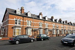 British houses. Row of the traditional British houses in residential area of Birmingham, UK stock photo