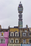 British Houses and BT Tower in London Stock Image