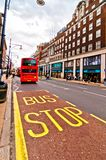 British icon double decker bus along Oxford Street in London, UK Royalty Free Stock Image