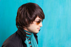 British indie pop rock look retro hip young man Stock Photo