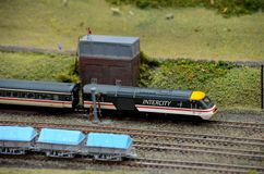 British intercity model railway train engine and carriage Royalty Free Stock Photography