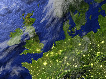 British Islands at night on realistic model of Earth Royalty Free Stock Photography