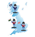British Isle map. With comical patriotic birds Stock Photography