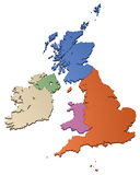 British Isles. 3D map of the British Isles, isolated on white background Stock Photos