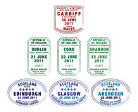 British Isles. Passport stamps of Wales, Republic of Ireland and Scotland in  format Royalty Free Stock Photos