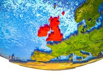 British Isles on 3D Earth. With divided countries and watery oceans. 3D illustration royalty free illustration