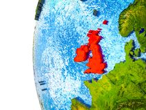 British Isles on 3D Earth. British Isles highlighted on 3D Earth with visible countries and watery oceans. 3D illustration royalty free illustration
