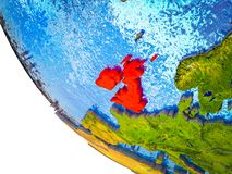 British Isles on 3D Earth. British Isles on model of Earth with country borders and blue oceans with waves. 3D illustration royalty free illustration
