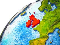 British Isles on 3D Earth. Model with visible country borders. 3D illustration vector illustration