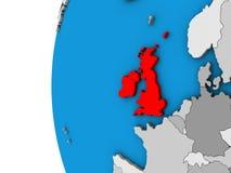 British Isles on 3D globe. British Isles on blue political 3D globe. 3D illustration royalty free illustration