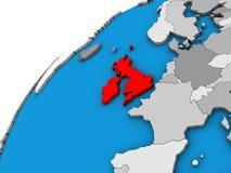British Isles on 3D globe. 3D illustration stock illustration