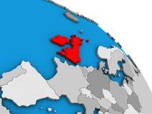 British Isles on 3D globe. British Isles on simple blue political 3D globe. 3D illustration vector illustration