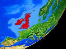 British Isles on Earth from space. British Isles on planet Earth with country borders and highly detailed planet surface. 3D illustration. Elements of this image royalty free illustration