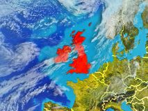 British Isles on Earth from space. British Isles from space on model of planet Earth with country borders. Extremely fine detail of planet surface and clouds. 3D stock illustration