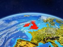 British Isles on Earth from space. British Isles on planet Earth with country borders and highly detailed planet surface and clouds. 3D illustration. Elements of royalty free illustration