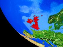 British Isles on Earth from space. British Isles on realistic model of planet Earth with country borders and very detailed planet surface. 3D illustration royalty free illustration