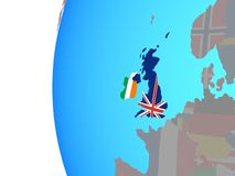 British Isles with flags on globe. British Isles with embedded national flags on blue political globe. 3D illustration stock illustration