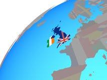 British Isles with flags on globe. British Isles with embedded national flags on globe. 3D illustration stock illustration