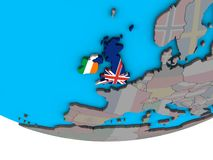 British Isles with flags on globe. British Isles with embedded national flags on simple political 3D globe. 3D illustration vector illustration