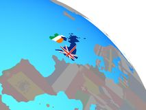 British Isles with flags on globe. British Isles with national flags on simple blue political globe. 3D illustration royalty free illustration