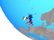 British Isles with flags on globe. British Isles with national flags on simple globe. 3D illustration royalty free illustration