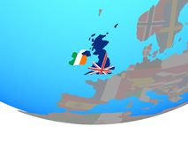 British Isles with flags on globe. British Isles with national flags on simple political globe. 3D illustration vector illustration