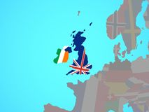 British Isles with flags on map. British Isles with national flags on blue political globe. 3D illustration royalty free illustration