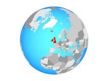 British Isles on globe isolated. British Isles on blue political globe. 3D illustration isolated on white background royalty free illustration