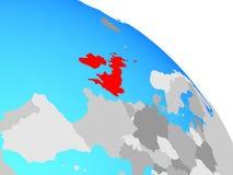 British Isles on globe. British Isles on simple blue political globe. 3D illustration vector illustration