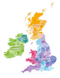 British Isles map colored by countries and regions Stock Photography