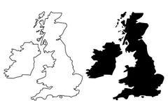 British Isles map vector. Illustration, scribble sketch British Isles vector illustration