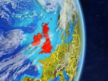 British Isles on planet Earth. British Isles on planet planet Earth with country borders. Extremely detailed planet surface and clouds. 3D illustration. Elements stock illustration