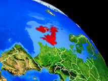 British Isles on planet Earth. From space with country borders. Very fine detail of planet surface. 3D illustration. Elements of this image furnished by NASA stock illustration