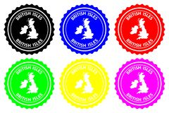 British Isles rubber stamp. British Isles - rubber stamp - vector, British Isles map pattern - sticker - black, blue, green, yellow, purple and red stock illustration