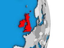 British Isles on 3D globe. British Isles on simple political 3D globe. 3D illustration royalty free illustration