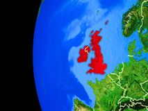 British Isles from space. On realistic model of planet Earth with country borders and detailed planet surface. 3D illustration. Elements of this image furnished stock illustration