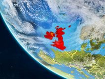 British Isles from space on Earth. British Isles on planet Earth from space with country borders. Very fine detail of planet surface and clouds. 3D illustration vector illustration