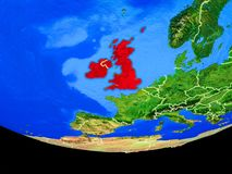 British Isles from space on Earth. British Isles from space on model of planet Earth with country borders. 3D illustration. Elements of this image furnished by royalty free illustration