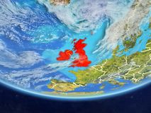 British Isles from space on Earth. British Isles on realistic model of planet Earth with country borders and very detailed planet surface and clouds. 3D vector illustration