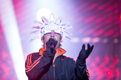 British jazz-funk band Jamiroquai performing on stage at music festival in Portugal, 2017. Jamiroquai performing on stage in Europe, Portugal at music festival royalty free stock image