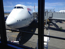 British jumbo jet at seattle airport Stock Photo