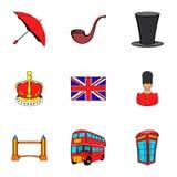 British kingdom icons set, cartoon style Stock Images